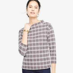 Ann Taylor Plaid Tweed Top and Pencil skirt set